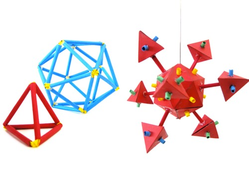 3-d Geometry - made from Artstraws and Card